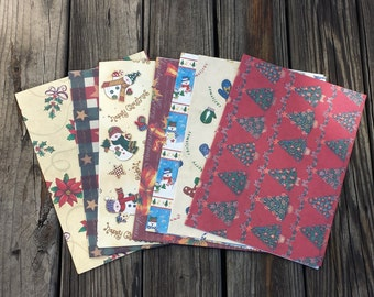 Christmas Wrapping Paper, Christmas Gift Wrap, Lot of 7 Sheets, Christmas Scrapbook Paper, Craft Supplies
