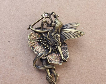 Winged Ballerina Fairy Angel, Bronze, Pink Glitter, Aurora Borealis, Metal Brooch Pin, Jonette Jewelry Company, Signed JJ, Vintage Brooch