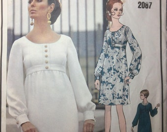 Vintage Vogue Paris Original Sewing Pattern CHRISTIAN DIOR Empire Dress Scoop Neckline Long Sleeves