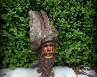 Small Vintage Hand Carved Wood Tree Spirit - Woodland, Green Man, Rustic, Nature