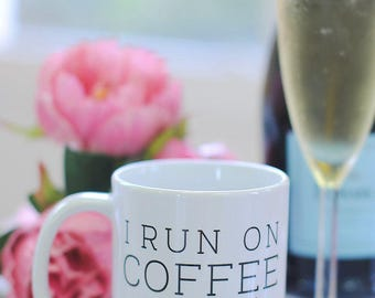 I Run on Coffee and Prosecco Coffee Mug, Coffee Gifts, Prosecco Lover Gifts