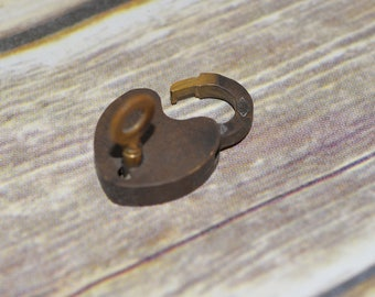 Tiny 1.5 inch brass psdlock antique with key Working industrial miniature