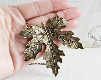 Extra Large Maple Leaf Pendant Necklace on Antiqued Brass Chain (70mm)