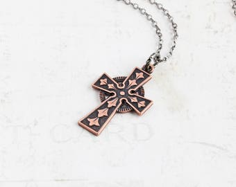 Antiqued Copper Ornate Cross Pendant Necklace on Gunmetal Plated Chain