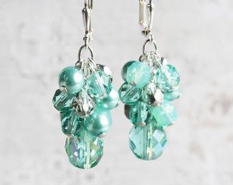 Light Aqua Seafoam Beaded Bridesmaid Earrings on Silver Plated Hooks