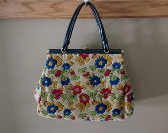 Vintage Floral Carpet Bag Purse with Clasp Closure / Boho Purse / Gift for Her