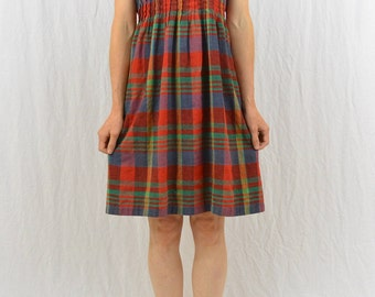 Vintage Plaid Mini Dress, Size Small-Medium, Mori Girl, Forest Girl, Hipster, Indie Clothing