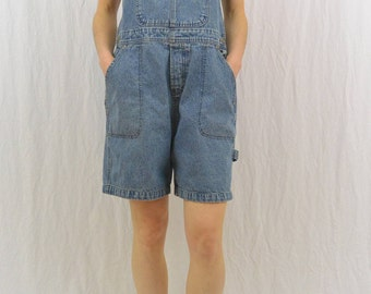 Vintage Harley-Davidson Denim Shortalls, Size Medium- Large, 90's, Grunge, Motorcycle, Biker, Tumblr Clothing, Overall Shorts
