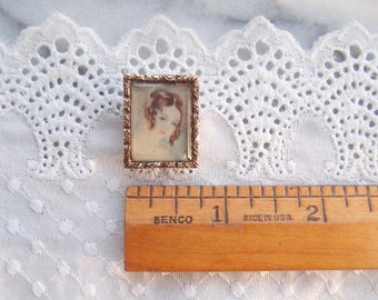 Antique Portrait Miniature Brooch Pin 1830s 1840s Georgian Victorian 10k GF handpainted girl with ringlet curls perhaps young Queen Victoria