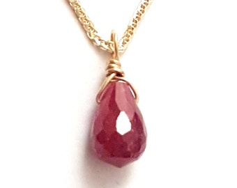 Ruby Pendant Necklace, African Ruby Pendant, 14k Gold Chain, Ruby Gift, July Birthstone, Gold Jewelry, Handmade Charm, VenexiaJewelry