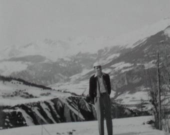 Vintage French Photo - Man and Snow Covered Mountains