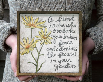 Handwritten Quote Wall Art, Yellow and Gray Flowers Print, Thank you Gift Idea, Favorite Quotes, Gift Idea for Friends, Wooden Wall Sign