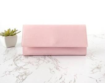 Wallet rose pink wallet women, large wallets for women credit card holder vegan leather wallet women Christmas gift for wife gift vegan
