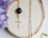Cross Necklace, Gold Cross Necklace, Cross Jewelry, Layering Necklace, Black Onyx Necklace, Boho Chic, Charm Necklace, Satellite Necklace,