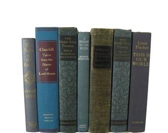 Country Cottage Home Decor, Farmhouse Books, Blue Books by Color for Bookshelf Decor