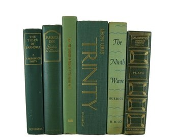 Green  Set of Hardback Books , Stackable Books, Interior Design, Country Style, Cottage, Old Green Books, Decorative Books, Books by Color,