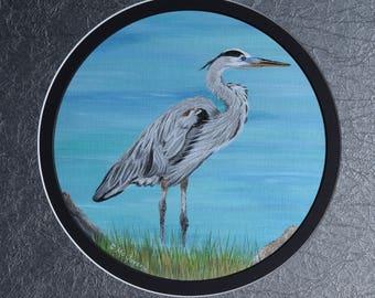 Wildlife Painting:  Great Blue Herron by the Sea, grass, ocean, grass, wildlife art, original painting