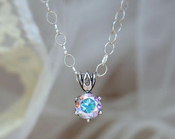 Rainbow Topaz Layering Necklace - Sterling Silver Solitaire Necklace - Simple Necklace - Delicate Necklace - November Birthstone Jewelry