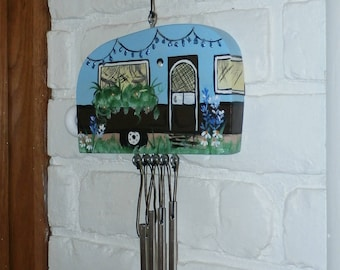 Hand Crafted Wood Travel Trailer Camper Wind Chime Hand Painted