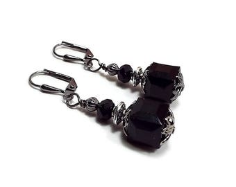 Black Earrings, Cube Earrings, Square Earrings, Drop Earrings, Gunmetal Plated, Goth Earrings, Lever Back Hook Clip on Earrings