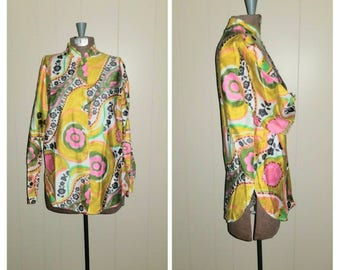 Hookah lounger ... Vintage 60s mod blouse / psychedelic button up Nehru tunic / mandarin collar / flower power abstract .. S M