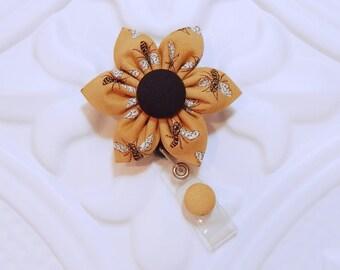 Retractable Badge Holder - Id Badge Reel - Nurse Badge Holder - Teacher Lanyard - Badge Reel - Cute Flower Badge Holder