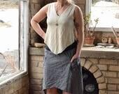 Organic Pixie Top. Angled Hem.  V Neck.  Reversible. Crop Top. Boho. Sleeveless. Tank Top. Asymmetrical. (hemp/organic cotton knit)