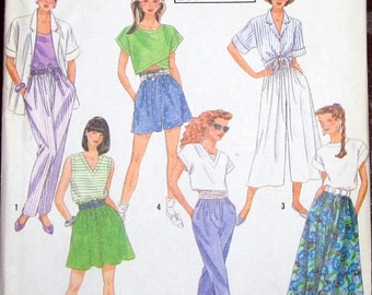 Easy Vintage Sewing Pattern Simplicity 7174 Culottes Skirt Pants Womens Size 6-8 10-12 14-16 18-20 22-24 Bust 32-33 34-36 38-40 42-44 UC FF