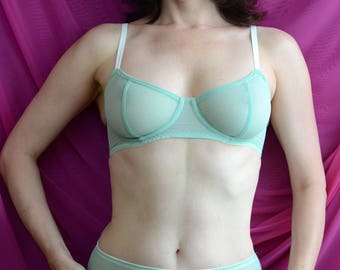 Women Sleepwear & Intimates Bras The Sheer Cup Underwire Mint Mesh Bra MADE TO ORDER