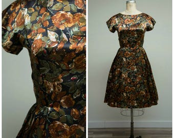 Reserved // Vintage 1950s Dress • Autumn Hope • Bronze Green Black Floral Satin 50s Party Dress Size Medium