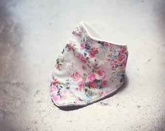 Floral Bandana Style Bib with Snap Closure
