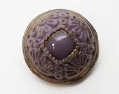 Pretty Vintage Lilac Lavender Purple Glass Sewing Buttons ~ Wide Flower Border Accented with Gold Luster ~ 7/16 inch 11mm ~ Set of 2 Buttons