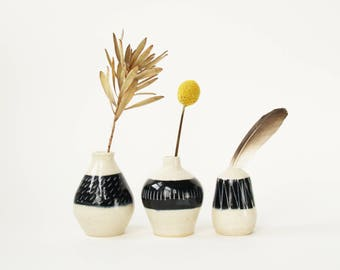 set of 3 ceramic bud vases / weed pots / black and white