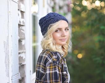 Chunky Winter Beanie Hat / Women's Crochet Beanie Hat / Birthday Gift for Her / Slightly Slouchy Hat / Crochet Winter Hat / Winter Fashion