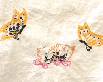 Vintage Hand Stitched Cats and Butterfly Theme Embroidered Linen Kitchen Tea Towel Large Flour Sack Muslin Kittens Yellow Butterflies Spring