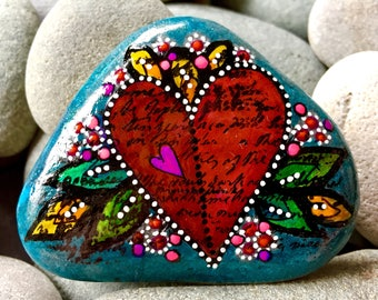 I hold you in my heart / painted stones/ painted rocks/ heart rocks / heart stones / boho art / tiny art / altar art / hippie art /cape cod
