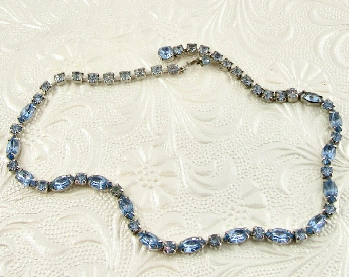 Vintage Riviera Necklace, 1950s Necklace, Blue Rhinestone Necklace, Vintage Choker, Choker, Mid Century Jewelry, Vintage Necklace