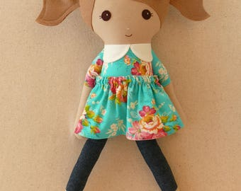 Fabric Doll Rag Doll 20 Inch Light Brown Haired Girl in Teal and Red Floral Dress with Denim Leggings