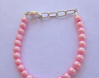 Pink stackable baby or toddler bracelet