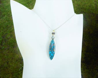 Turquoise necklace,turquoise pendant, 925 silver necklace, blue stone necklace, turquoise jewelry, turquoise necklaces, turquoise pendants