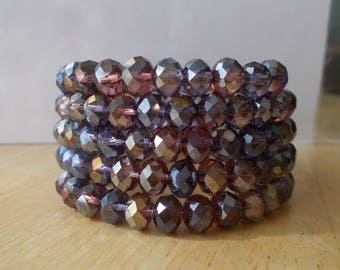 4 Row Memory Wire Cuff Bracelet with Multi Color Crystal Beads