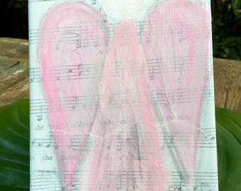 Angel Painting/Hymnal Angel Art/Angel Abstract Original Painting/Faceless Angel Painting/Angel Art
