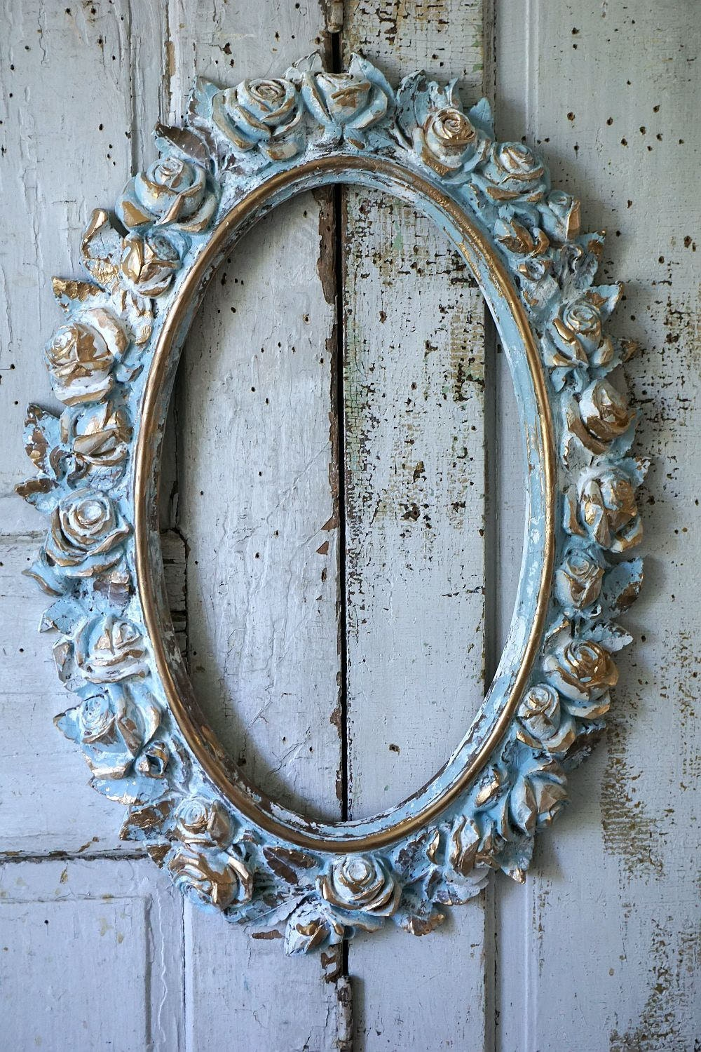 rose picture frame wall hanging large distressed oval painted. Black Bedroom Furniture Sets. Home Design Ideas