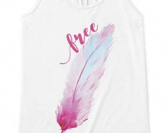 Free Handlettered Feather Tank Top, Christian T Shirt, Scripture Tee, Women Faith Workout Apparel, Illustrated Faith, Fitness Gift for Her