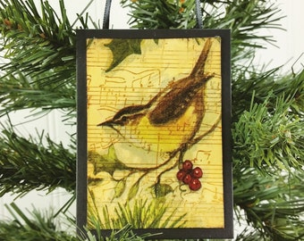 Winter Wren With Red Holly Berries, Wild Bird Christmas Ornament Holiday Decor