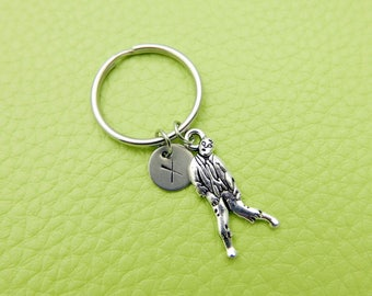 Zombi initial Keychain personnalized stainless steel monogram Keyring