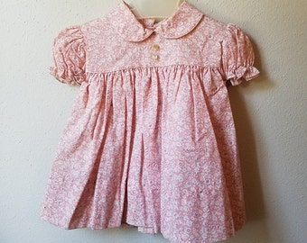 Vintage Girls Pink Floral Dress with Peter Pan Collar- Size 12 months- New, never worn