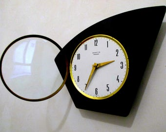 1950s VEDETTE Black Formica Angular Clock - Formica Wall Clock - Glass Case - Perfect Working Condition - Mid Century Diamond