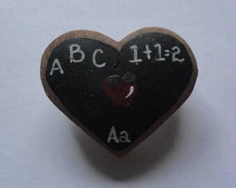 Vintage Handmade School Chalkboard Brooch Pin