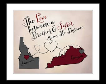 Brother sister christmas gifts, christmas gift for brother, presents family long distance customized christmas gifts for family military map